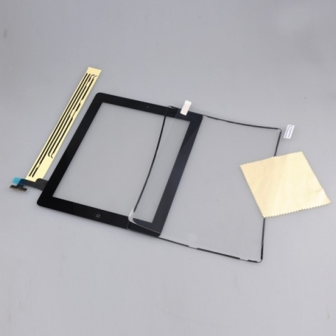 iPad 2 Touch Screen Digitizer Replacement + Home Button + Adhesive + Protector + Midframe Black