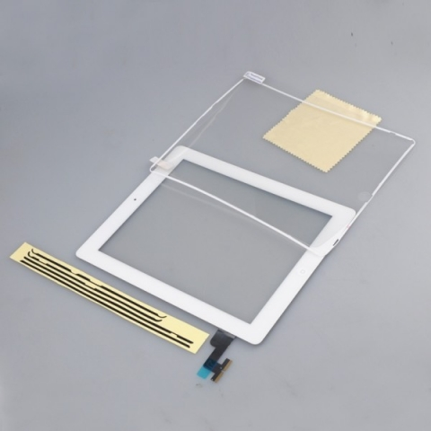 iPad 2 Touch Screen Digitizer + Home Button + Adhesive + Protector + Midframe White
