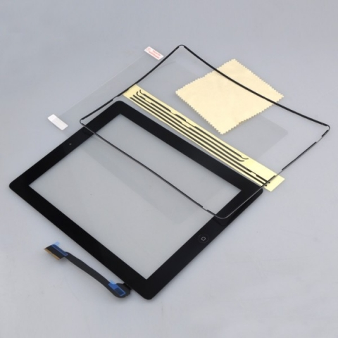 iPad 3 LCD Glass screen Digitizer Replacement With Home Button & Adhesive & Protector & Midframe Black