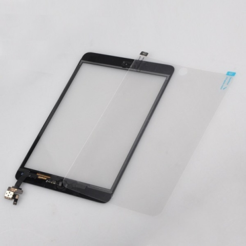 iPad Mini Touch Screen Digitizer IC Connector + Home Button Flex + Protector + Adhesive Black